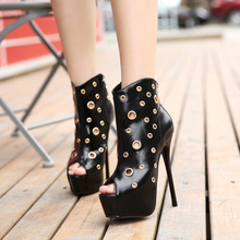 Free Shipping 34-40 Size Women New Fashion Trend Hollow Cool Boots Girl 15CM Thin High Heel Sandles Student Sexy Peep Toe Shoes