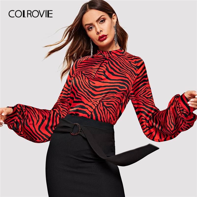 COLROVIE Animal Print Mock-Neck Raglan Sleeve Pleated Vintage   Blouse     Shirt   Women Clothes 2019 Spring   Shirts   Office Ladies Tops