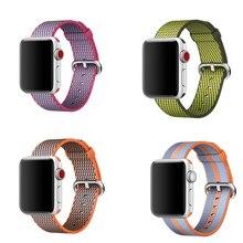 лучшая цена Woven Sport loop strap for Apple Watch nylon band 38mm 42mm 40mm 44mm Bracelet For iwatch wristband series 4/3/2/1