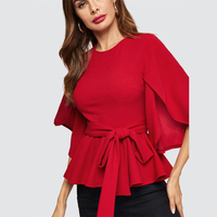 Blusa roja manga media split peplum 1