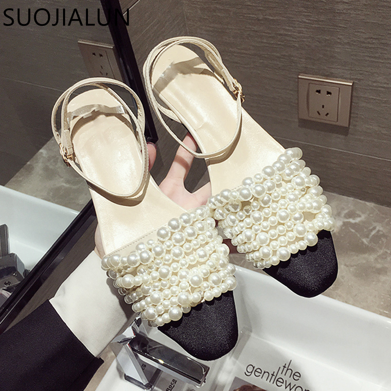 SUOJIALUN 2019 Fashion Brand Women Sandals Summer Flat Shoes Pearl Sandals ladies String Bead Mules Slides Casual Shoes Sandals in Low Heels from Shoes