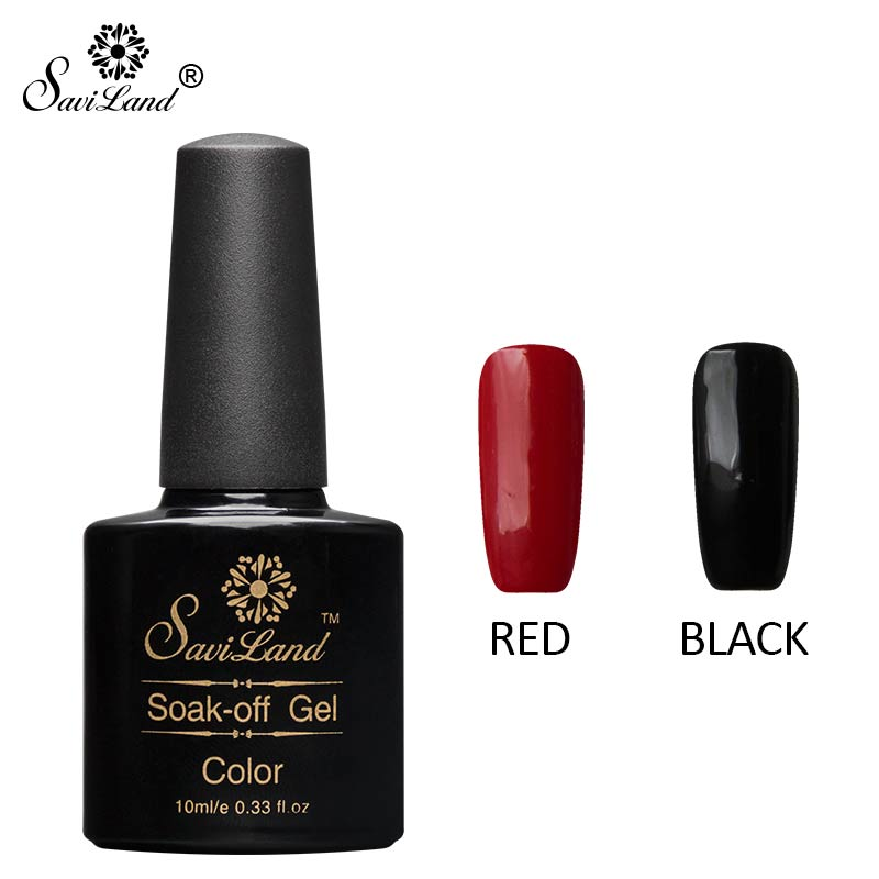 Saviland 2pcs Black Red Color UV Gel Nail Polish Fashion Nail Art ...