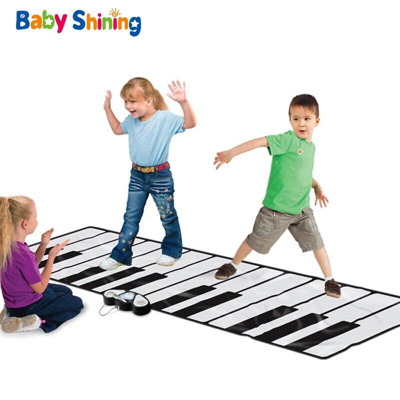 Couverture de Piano électronique brillant bébé 260X74 CM surdimensionné couverture éducative pliable 1-9Y musique jeu Pad tapis de jeu antidérapant