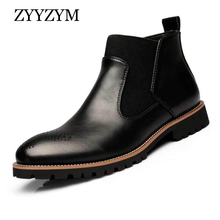 ZYYZYM Mens Boots Autumn Winter Slip-On Fashion Split leather Plush Warm Men Chelsea Plus Size 38-46