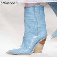 Mstacchi 2018 Cowboy Boots For Women Pointed Toe Western Boots Genuine Leather Mid calf Women Boots Chunky Wedges Boots Runway