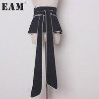 EAM 2018 New Spring Solid Color Army Greeb Loose Big Bow Belt Women Fashion Tide