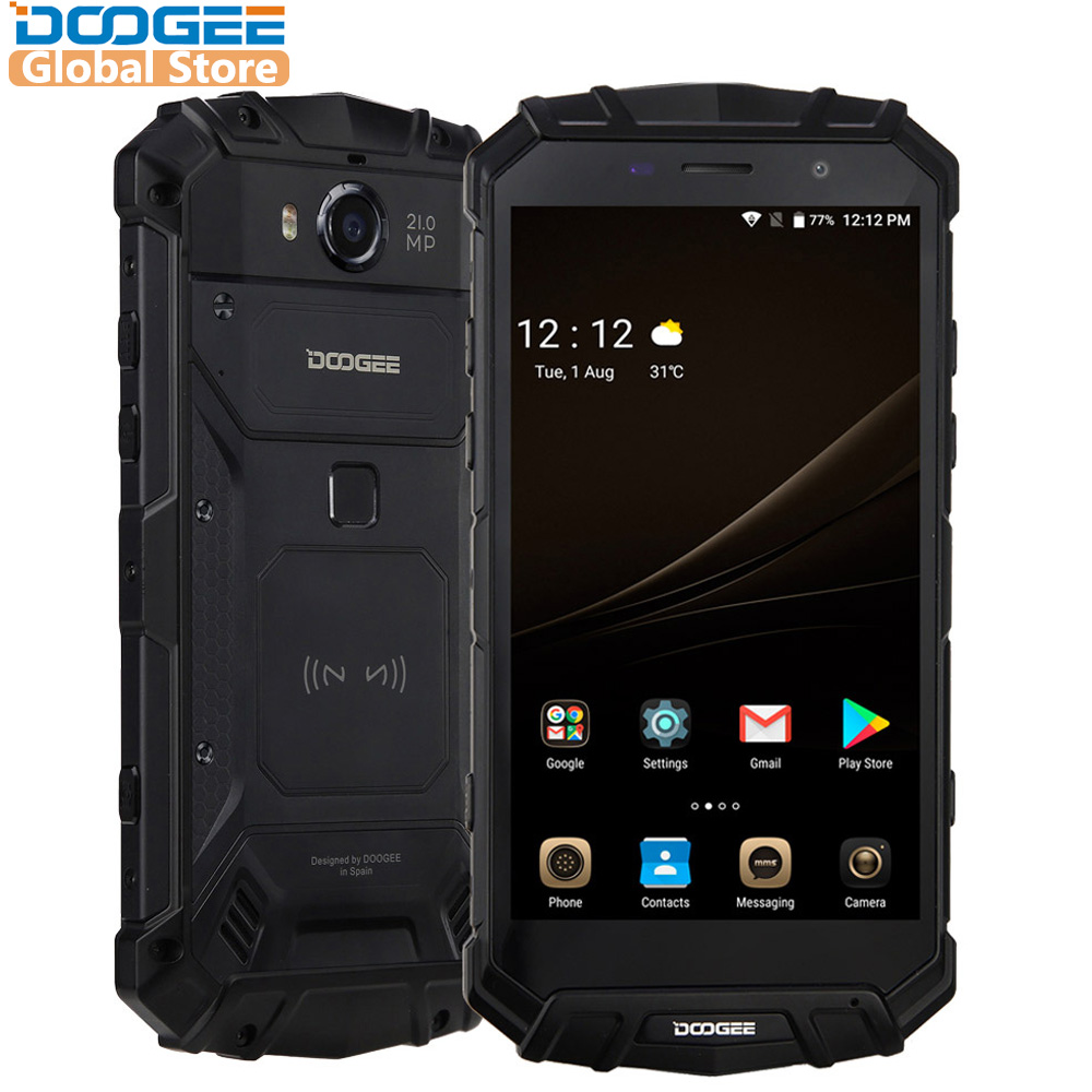 IP68 Original DOOGEE S60 sans fil Charge Smartphone 5580 mAh 12V2A Charge rapide 5.2 ''FHD Helio P25 Octa Core 6 GB 64 GB 21.0MP