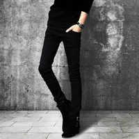 新しい夏のジーンズ男性スキニーストレッチジーンズ男性タイトなスリムジーンズ男性ファッションカジュアル黒ストレートジーンズ韓国鉛筆パンツ