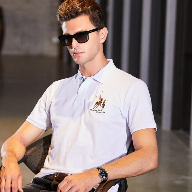 Fashion Summer Short Sleeve Solid Polo Shirt Men Cotton Print Slim Casual Polos Breathable Embroidery  Shirt Mens ClothingYP9099 4
