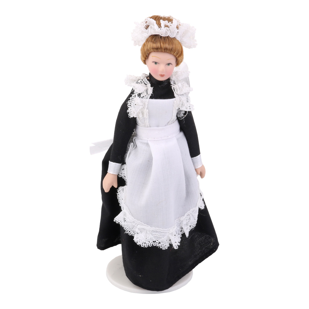Dollhouse Miniature Porcelain Dolls Victorian Servant w White Display Stand Creative Girls Gifts Presents Pretend Play Toys