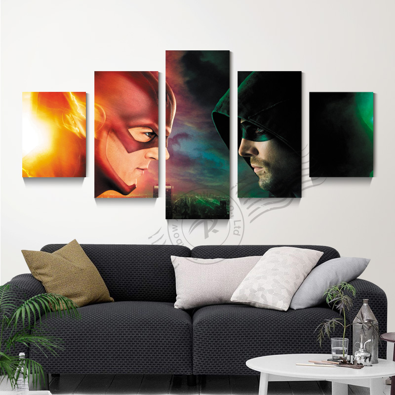 5 Panel Green Arrow Leinwand Kunst Malerei Abstrakte Movie Poster ...
