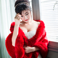 Women Red Faux fur Wrap For Winter Wedding Fur Cape