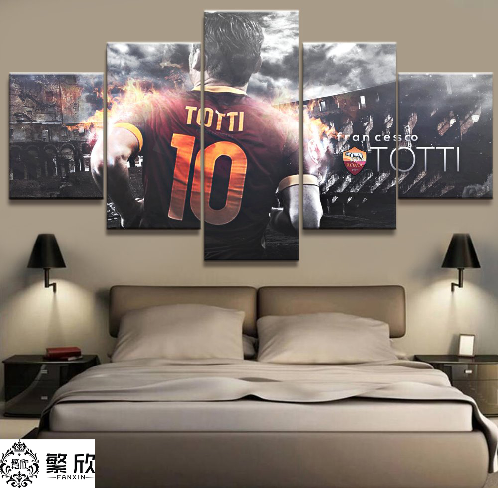 5 Panel Totti AS Roma Serie A Canvas Printed Painting For Living Picture Wall Art HD