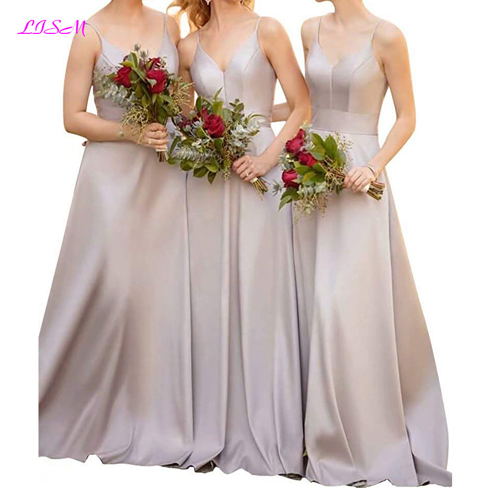 Cheap   Bridesmaid     Dresses   Sweetheart Straps Satin Prom Party Gowns A Line Long   Dress   for Wedding Party caftan marocain