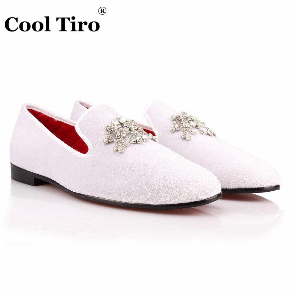 Crystal Tassel White velvet Loafers Men Flats (5)