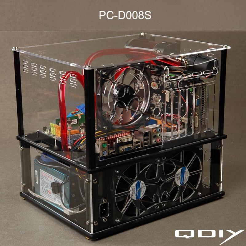 QDIY PC-D008S 다채로운 가로 ATX 투명 한 PC 물 냉각 - 컴퓨터 구성 요소