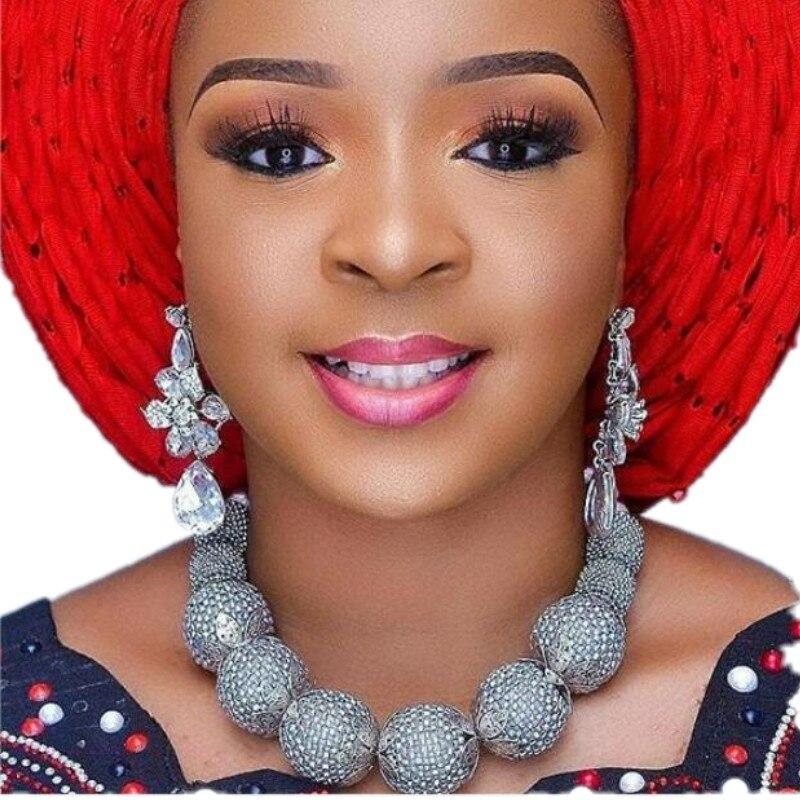 4 ubijoux Dubai ensemble de bijoux fins pour femmes argent grandes boules collier boucles d'oreilles et Bracelet nigérian mariée bijoux nigérians