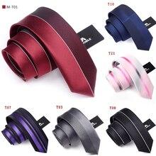 Высокое качество, галстуки для мужчин, Шелковый, 6 см, тонкий мужской галстук, s, модный, для свадьбы, тощий, узкий галстук, бренд, в полоску, галстуки, черный