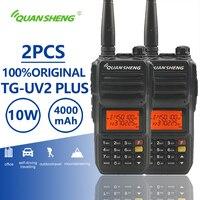2pcs QuanSheng TG UV2 Plus Walkie Talkie 10km 10W 4000mAh Ham Radio Uhf Vhf Radio Ham Hf Transceiver CB Radio TG UV2 2 Way Radio
