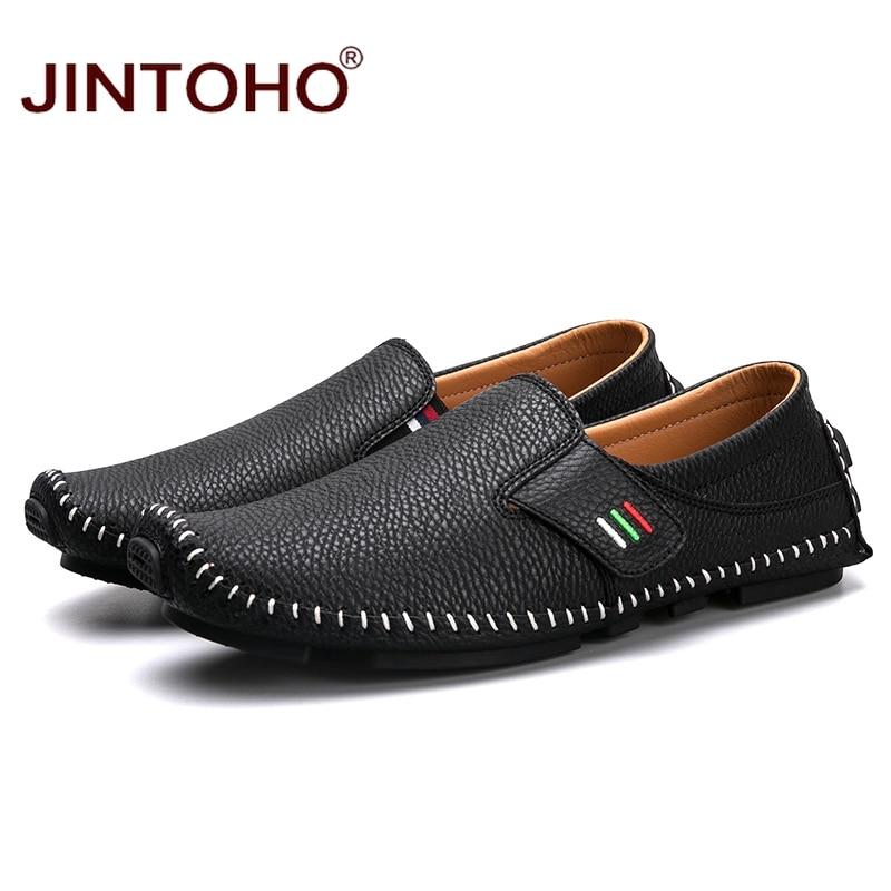Mode Marque Hommes Cuir Chaussures En Jintoho Mâle Taille Décontracté Black blue Grande Bateau white De Véritable Mocassins kuTOPiZX