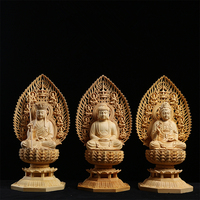 Lotus flower screen screen, Tibetan king Bodhisattva, Yueqing boxwood carving, home Fengshui residence, Buddha statues.