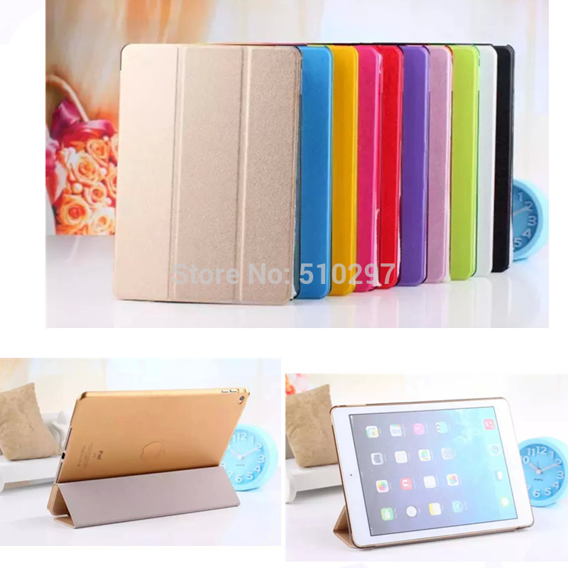 Fashion Silk pattern Three FOLD PU leather Smart cover case For Apple ipad air 2 Air2 ipad6 ipad 6 With Stand cases ds hot nautical maps pattern pu leather stand case for apple ipad air 2 cover with card holder case for ipad air2 ipad 6