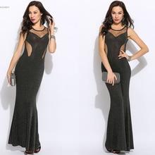 Vestido De Festa Sexy Women Maxi Dress Sequins Backless O-Neck Sleeveless Evening Party Long Dresses