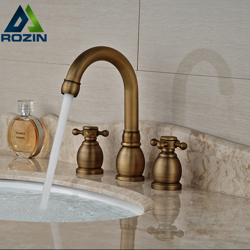 Antique Brass 8 Brass Bathroom Basin Mixer Faucet Dual Handle Washbasin Water Tap Dual Handles