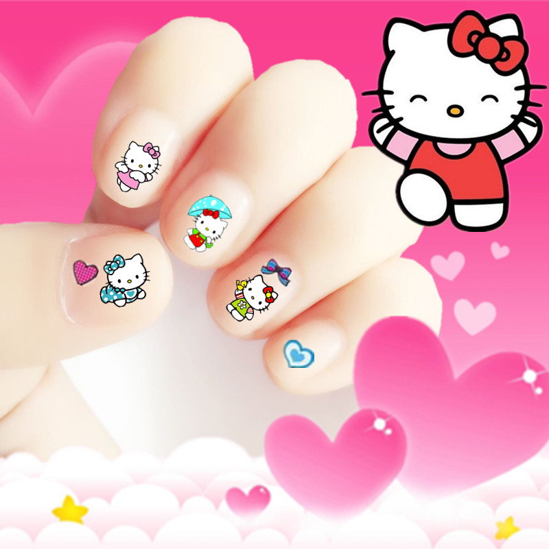 Фото 2017 hot sale cartoon korea Waterproof 3D Nails Sticker cute hello kitty cat Design Nails Foil Sticker Decor Decals for children