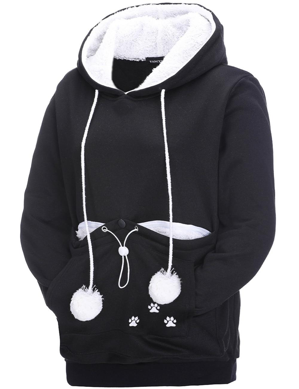 17 New Cartoon Hooded Hoodies Lover Cats Kangaroo Dog Hoodie Long Sleeve Sweatshirt Front Pocket Casual Animal Ear Hoodie 26