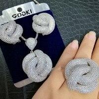 GODKI Luxury 3PCS Ring Necklace Earring Sets Cubic Zircon Crystal Jewelry Set For Women Wedding Indian Dubai Bridal Jewelry Set