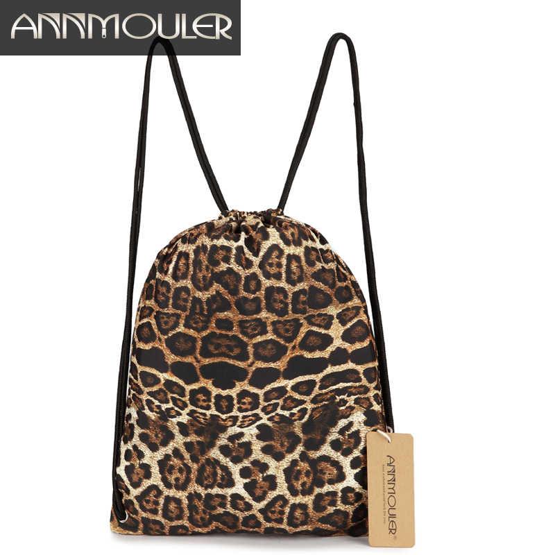 Annmouler Novas Mulheres Da Moda Tecido Saco Boho Gypsy Bohemian Leopard Cordão Sacos Mochila Feminina Mochila de Grande Capacidade