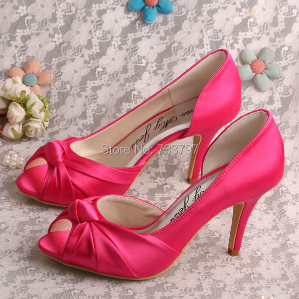 Wedopus MW345 Women Fuchsia Satin Knot Bridal Wedding Shoes High Heeled