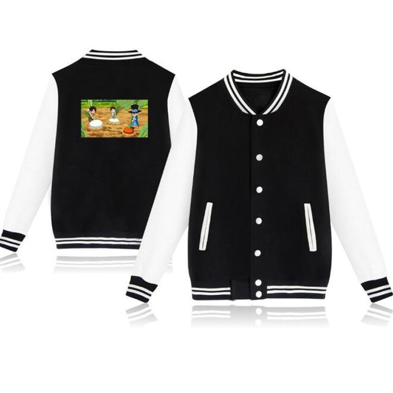 KPOP Anime One Piece Baseball Uniform Fleece Jacket Women Men Japanese Streetwear Kids Hip Hop Hoodie Sweatshirts Funny Clothes