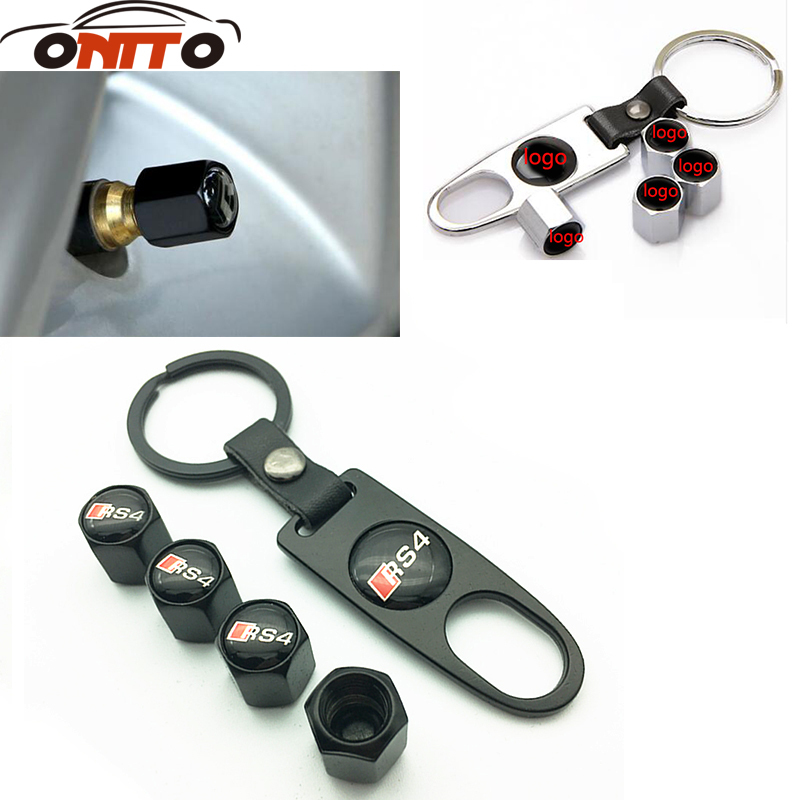 4Pcs Car RS4 Logo Emblem Tire Valve Caps Tyre Air Stems Cap Leather Key ChainTire Accessories
