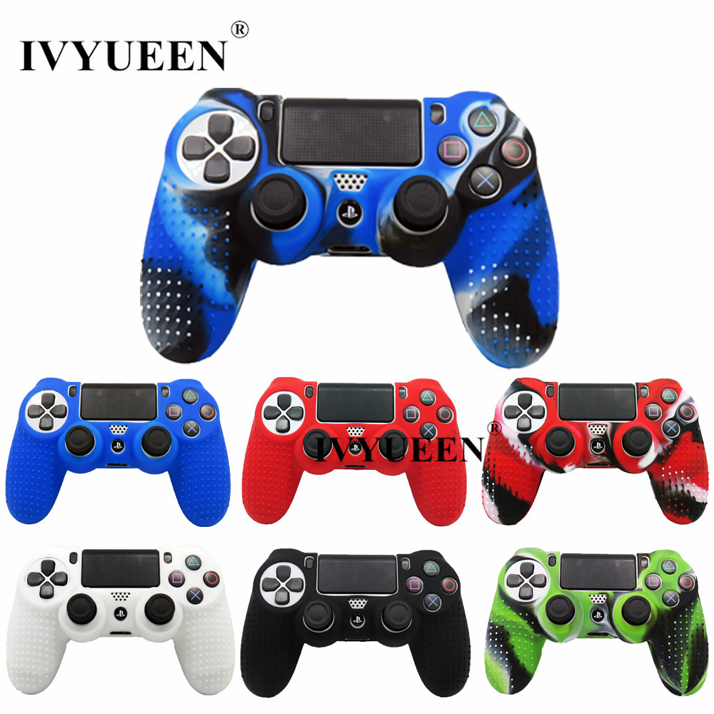 IVYUEEN Anti-slip Silicone Case Skin For PlayStation 4 PS4 Pro Slim Controller Cover With Thumb Stick Grips Caps For Dualshock 4