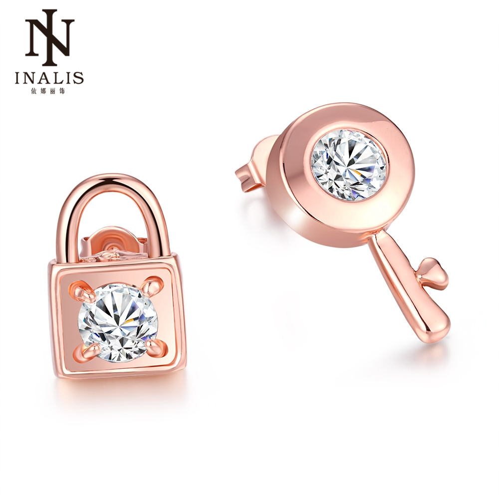 INALIS Brand Special Design Earrings For Women Key & Lock Charms Rose Gold Color Stud Earrings With Cubic Zirconia Unique Gift