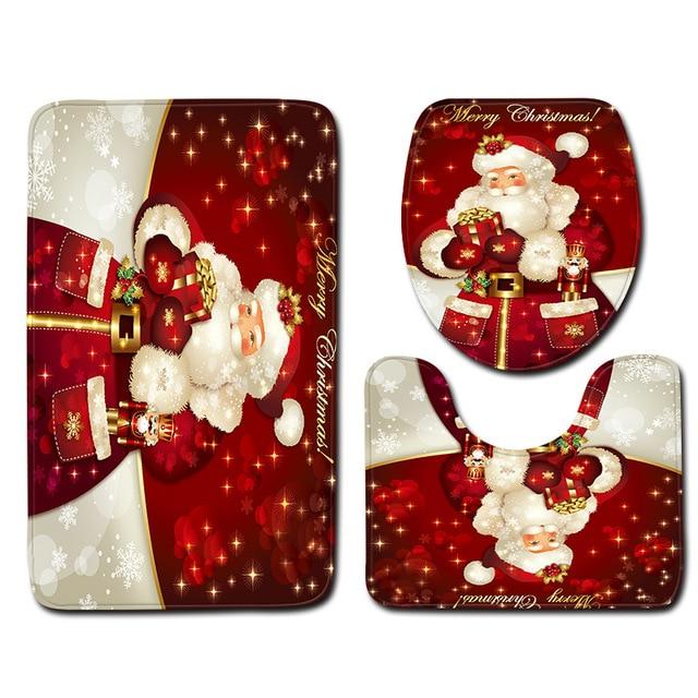 Zeegle Christmas Bathroom Mat 3pcs