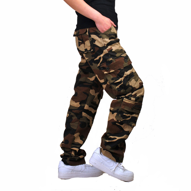 Mens Camouflage Baggy Cargo Pants Military Loose Fit Multi-pocket Casual Cotton Work Straight Tactical Overalls Trousers 1