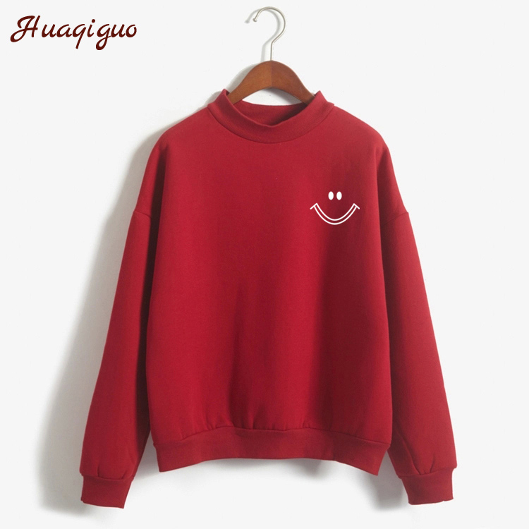 New Candy-Colored Sweatshirt Women Autumn Winter Long-Sleeved Turtleneck Hoodies 2017 Fashion Smiley Face Print Pullover Moletom
