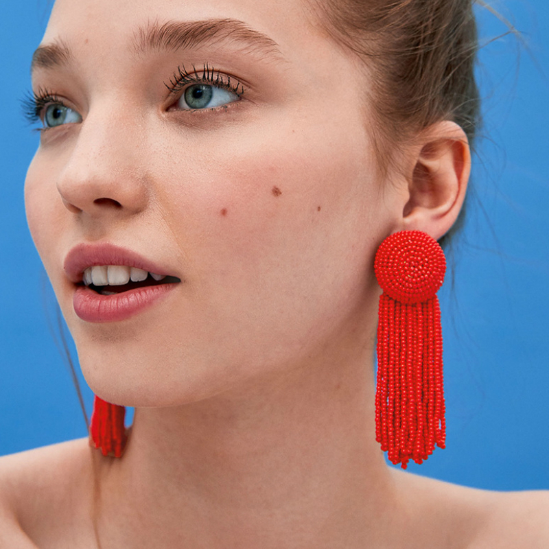 7 Colors Statement Handmade Beaded Long Tassel Dangle Earrings for Party Fashion Multicolor Crystal Drop Earrings Women Jewelry