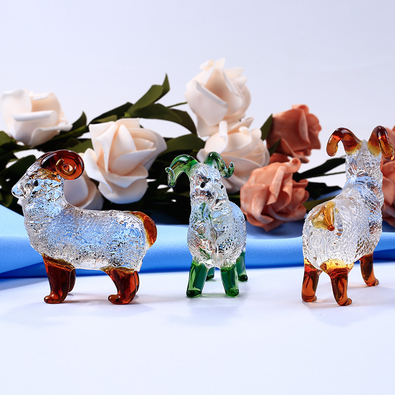 Håndlavede Crystal Goat Figuriner Miniaturer Glas Animal Crafts For House Ornaments Home Decoration Tilbehør Fødselsdag Gaver