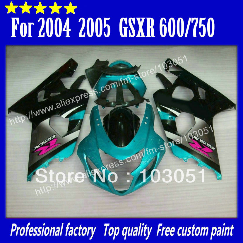 bodywork for SUZUKI 2004 GSXR 750 fairing K4 2005 GSXR 600 fairings 04 05 glossy water blue with silver DN13 lowest price fairing kit for suzuki gsxr 600 750 k4 2004 2005 blue black fairings set gsxr600 gsxr750 04 05 eg12