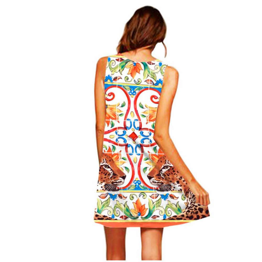 2019 女性ドレスファッションノースリーブ女性ギフトプリントドレスエレガントな女性カジュアル夏高品質ローブフェムセクシーホット販売 DD5