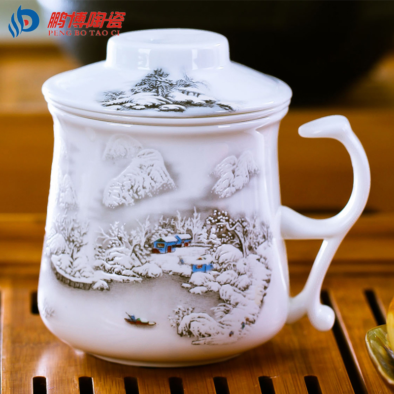 Chinese Style Bone China Ceramic Tea Cup Home Office Handpainted Porcelain Filter cup