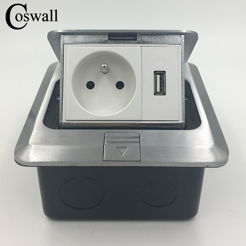 Coswall All Aluminum Silver Panel Pop Up Floor Socket French Standard Power...