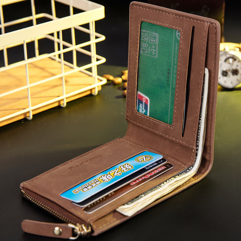 Vitage Zipper Men Wallets Leather Wallet Money Bag Credit Card Holders Dollar Bill Wallet Clutch Purse for Boy Use Short Wallets 3