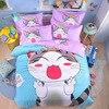 3 4pcs Lovely Cheese Cat Cartoon Bedding Set Duvet Cover Bedsheet Pillowcase Set Bedlinen Home Textiles