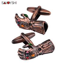 SAVOYSHI Novelty gloves Shaped Cufflinks for Mens Suit Shirt Cuff High quality Red Copper Cuff links Brand Male Jewelry Gift