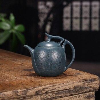 Yixing Dark-red Enameled Pottery Teapot Famous Full Manual Raw Ore Azure Mud Kowloon Xiao Xing Teapot Suit Tea Set